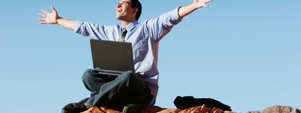 Loving work - Ecstatic businessman